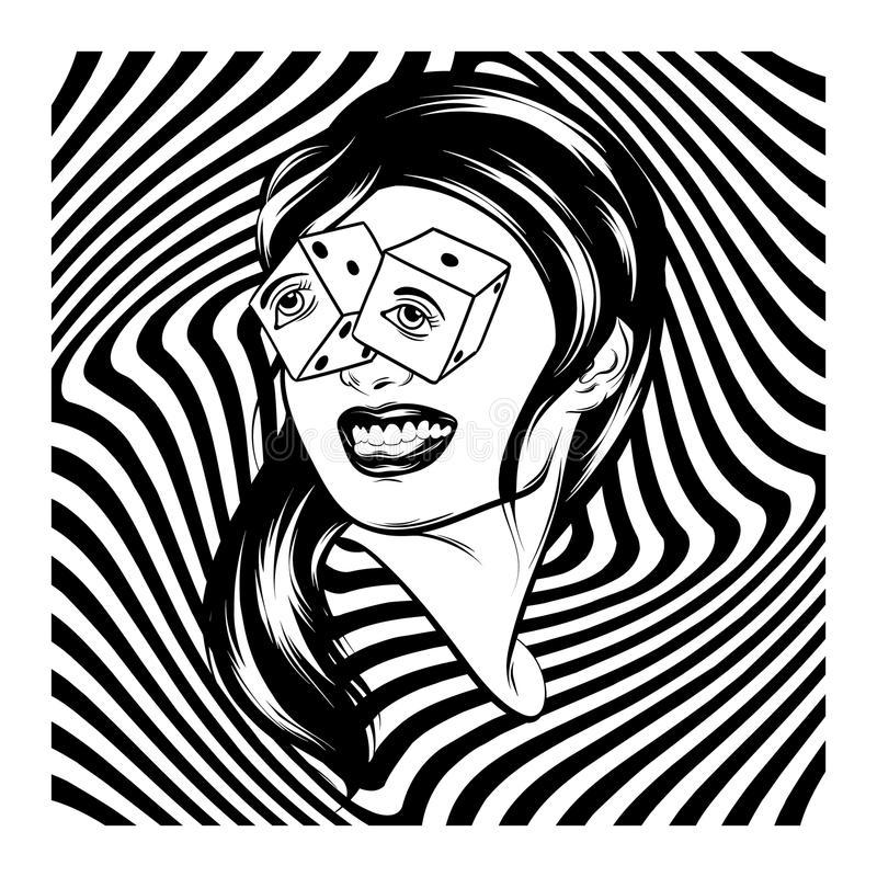 vector-hand-drawn-realistic-illustration-girl-dice-eyes-vector-hand-drawn-realistic-illustration-girl-124769649